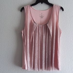 NY & Co pink top with mesh gold glitter overlay XL